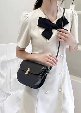 Новая женская чёрная кожаная сумка