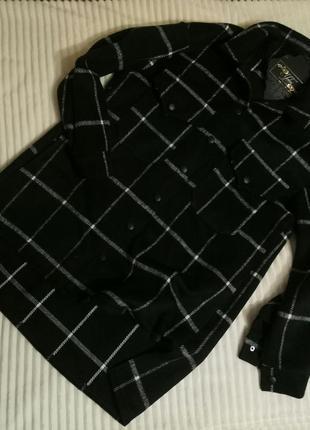 Теплая шерстяная рубашка-кардиган оверсайз