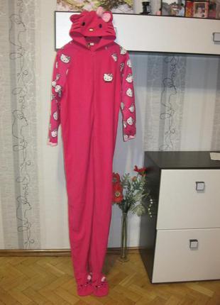 Обвал цен!hello kitty китти кигуруми пижама комбинезон флисовая теплая с рост до 170 см