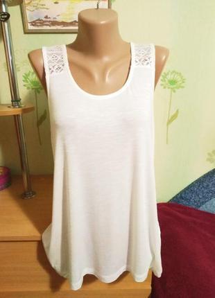 Майка-маечка- блузка- вискоза- кружево- не ношена-esmara-