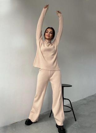 Женский костюм ангора, костюм в рубчик кофта штаны теплый костюм 4-цвета🌈