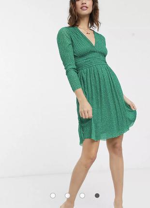 Плиссированное платье мини в горошек с v-образным вырезом french connection