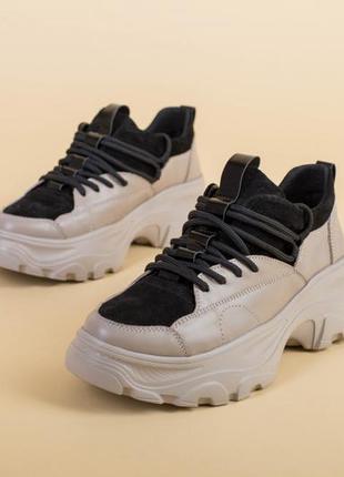 Бежевые кроссовки кожаные