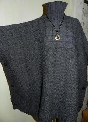 Тёплая,асимметричная,фактурная туника-свитер-кейп-бохо,большого размера,оверсайз