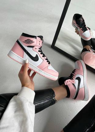 Женские кроссовки nike air jordan 1 retro pink quartz 💐