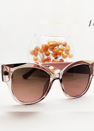 Женские очки стильные с золотыми вставками  линза коричневая дужки пудра