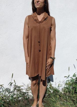 Бледно коричневое замшевое платье jacqueline riu paris