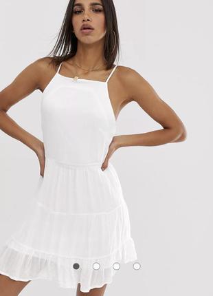 Белое платье-трапеция с квадратным вырезом и складками missguided