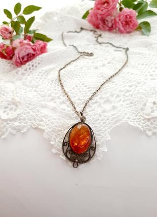 Кулон скань филигрань натуральный янтарь мельхиор на цепочке ссср советский кулончик ажурный