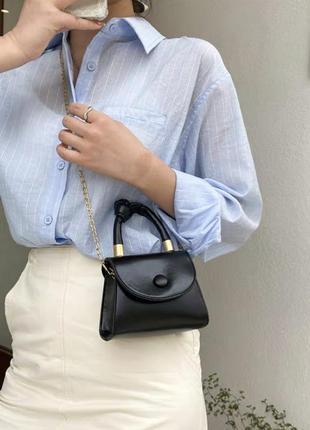 ‼️уценка‼️ новая женская чёрная кожаная мини сумка на цепочке