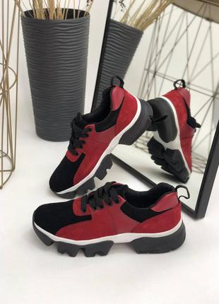 Кроссовки натуральная кожа красные черные