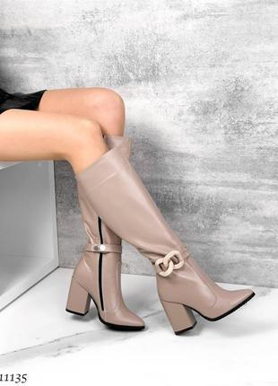 🍁женские сапоги на каблуке в натуральной коже