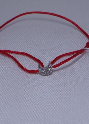 Браслет-оберег красная нить с родированным серебряным декором