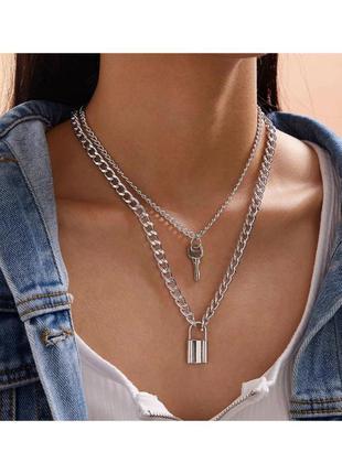 🔗массивная цепь на шею трендовая цепь на шею с замком многослойный чокер с ключом на шею чекер подвеска на шею