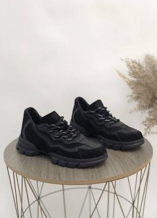 Кроссовки натуральная кожа чёрные белые