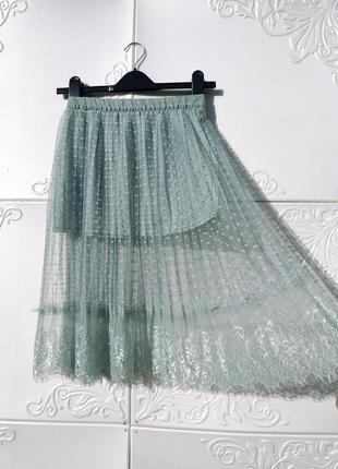 Бирюзовая миди юбка из мягкого фатина с кружевом h&m