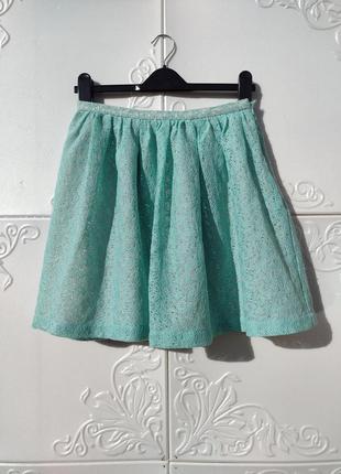 Бирюзовая пышная юбка naf naf