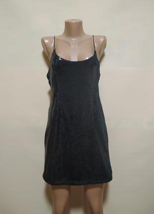 Платье вечернее сарафан черное в пайетках короткое мини блестящее