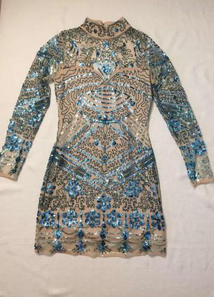 Шикарное блестящее платье, пайетки, сетка, нюдовое