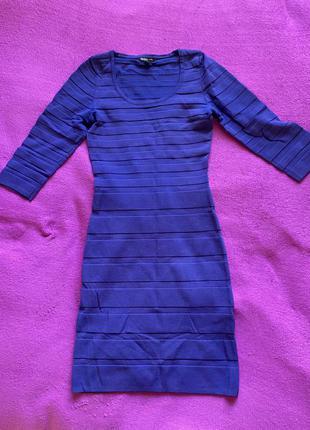 Синее плотное платье
