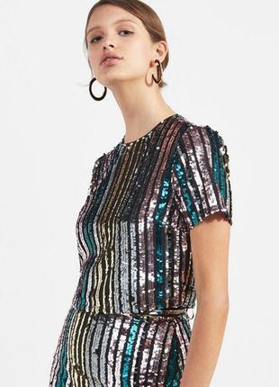 Топ в пайетках нарядная блузка блестящая блуза с коротким рукавом