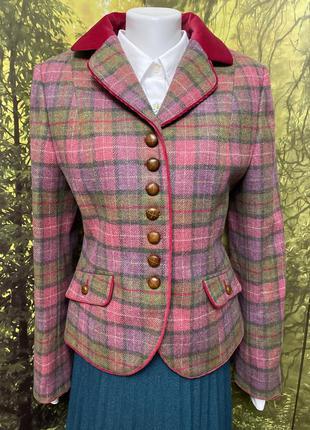 Австрия шерстяной пиджак в клетку с карманами жакет кардиган кофта