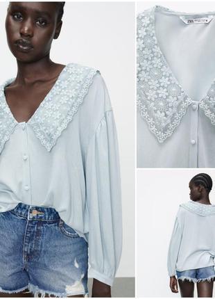 Zara нежная стильная блузка с вышивкой. тренд этого сезона
