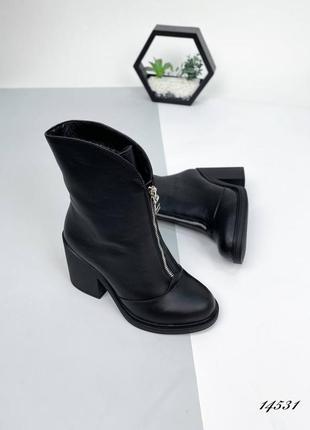 Кожаные ботинки полусапожки на устойчивом массивном каблуке натуральные