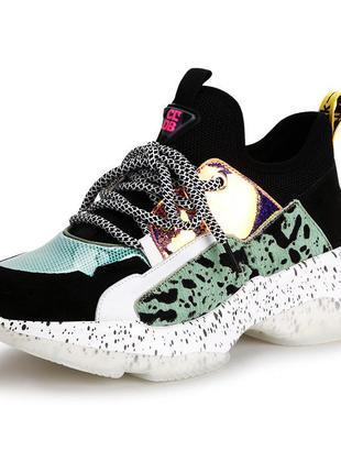 Замшевые женские кроссовки chunky sneakers leopard