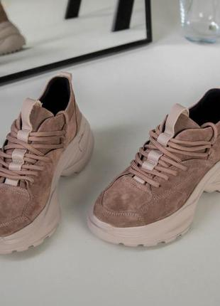 Замшевые кроссовки цвет латте