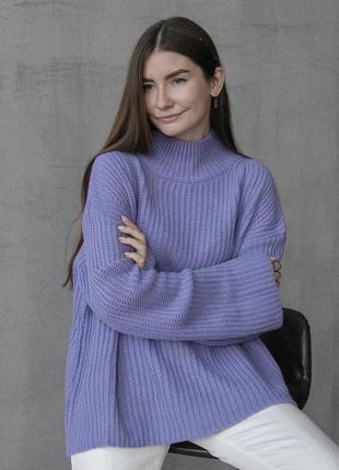 Лиловый тёплый свитер свободный