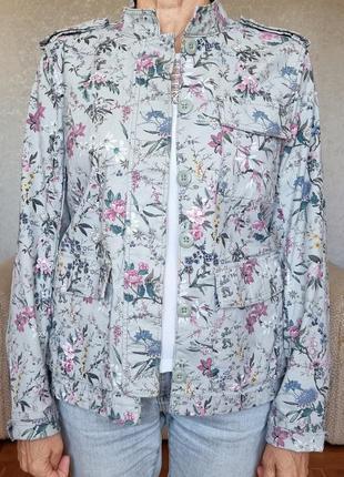 Хлопковый цветочный пиджак h&m