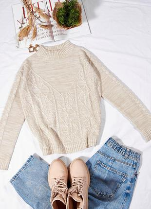 Бежевый вязаный свитер, бежевий в'язаний светр, жіночий теплий светр