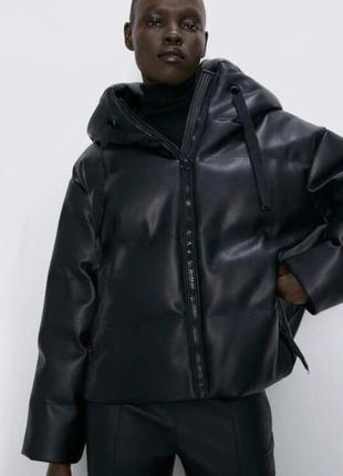 Куртка пуффер zara из эко кожи