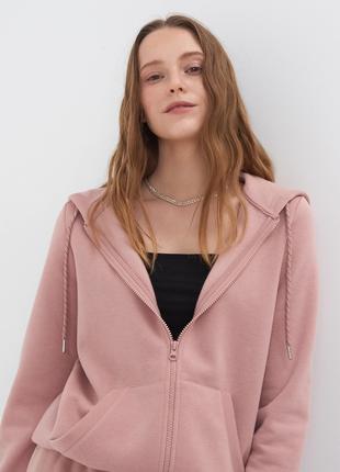 Новая розовая кофта с утеплением худи пудра толстовка застежка молния капюшон xs s