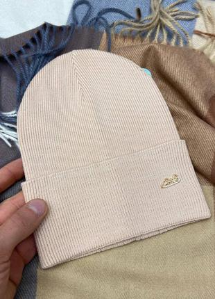 Женская бежевая шапка колпак 🥜