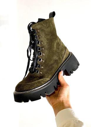 Замшевые женские ботинки на шнуровке натуральная замша