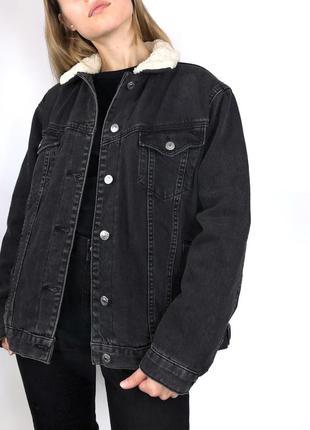 Утеплённая джинсовая куртка джинсовка шерпа оверсайз