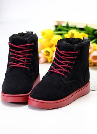 Ботинки угги на шнурках