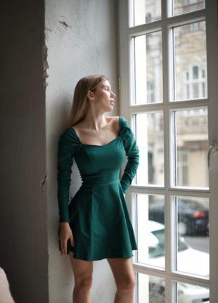Платье мини зелёный цвет