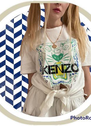 Белая футболка с логотипом бренд kenzo xs s