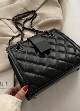 Стебаная сумка в ромбик с эко кожи женская