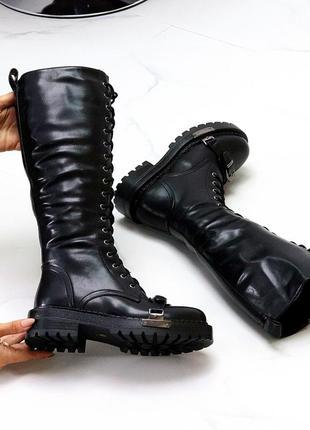 Сапоги на шнуровке зимние