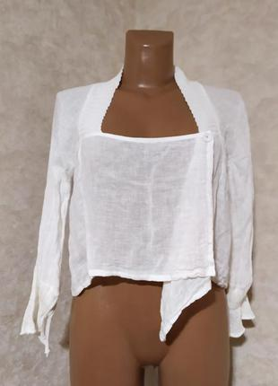 Льняная укороченная блуза crew concept, s-m