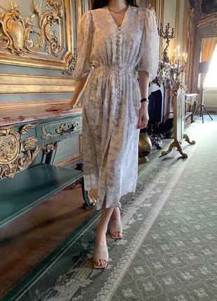 Шифоновое платье серое вечернее на длинный рукав