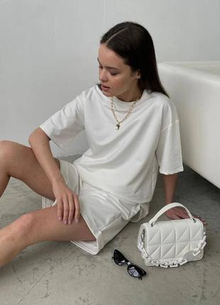 Костюм женский, футболка, шорты, трикотажный, однотонный, белый,  42 - 44, 44 - 46, 48 -52