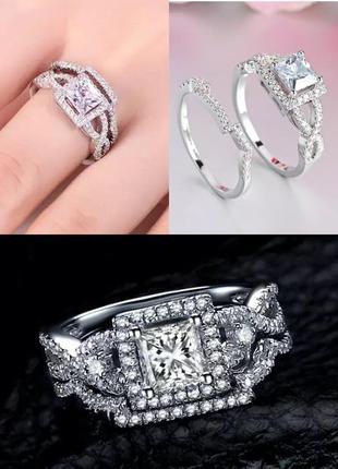 Красивое кольцо 2 в 1 с кристаллами