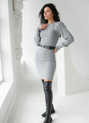 Платье вязаное, трикотажное, платье миди, офисное
