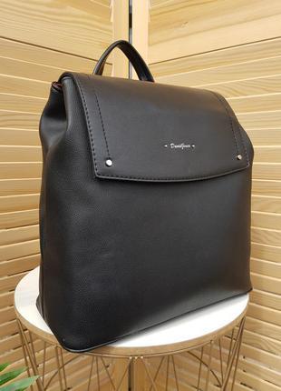 Стильный городской черный женский рюкзак david jones original 6124