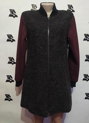 Модное пальто бомбер с шерстью в составе